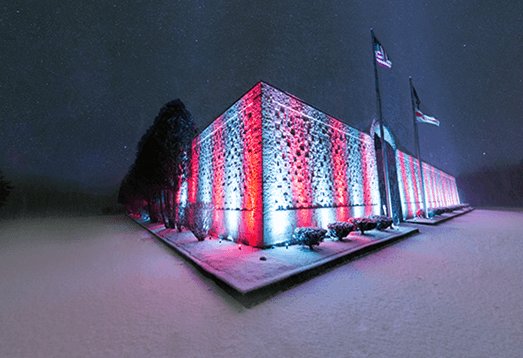 snowy night at the belarusan event center