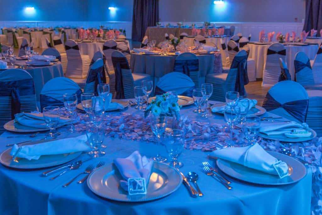 blue wedding reception room