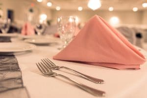 wedding reception linens pink napkin and forks